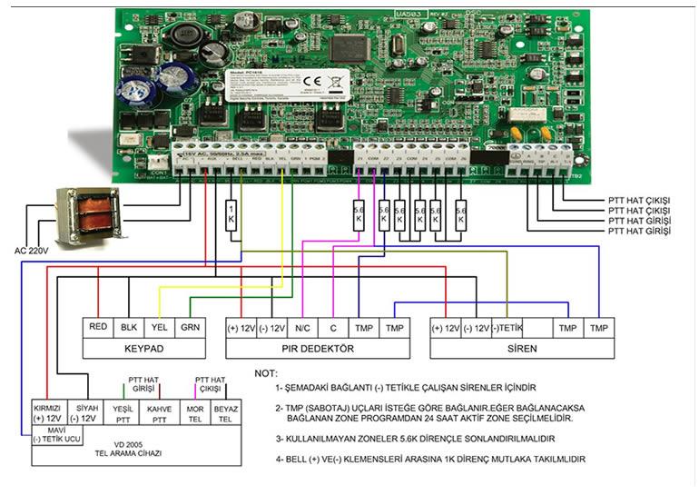 DSC Alarm Bağlantı Şeması